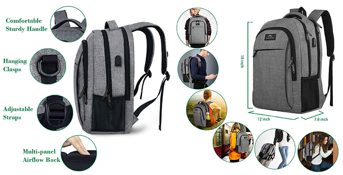 MATEIN Travel Business Anti-theft Slim Laptop Backpack
